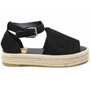 90a941fc2ca Bella Marie Shoes - Black Peep Toe Flatform Espadrille Sandals NIB